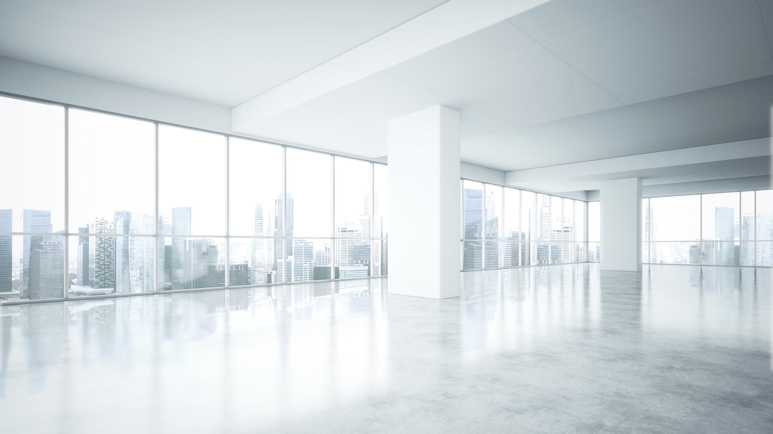 Sensational Empty White Office Interior With City View Campbell Keller Download Free Architecture Designs Scobabritishbridgeorg